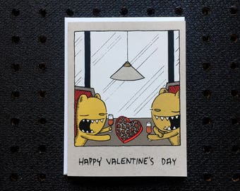valentine card, cute valentine, bear valentine, screen printed valentine,