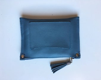 Small genuine blue leather purse or BAG , iPhone case, cosmetics bag or make up up pouch. Purse blue  soft leather.