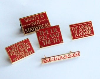 5 Pack Pins Set George Orwell 1984 Quotes Black and Silver or Gold Red hard enamel, book lover, literary gifts