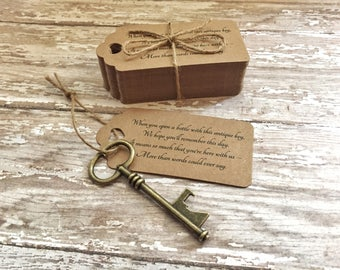 "Wedding Favors for Guests - Skeleton Key BOTTLE OPENERS + ""Poem"" Thank-You Tags – Set of 100 - Ships from USA - Antique Bronze - Eliza Style"