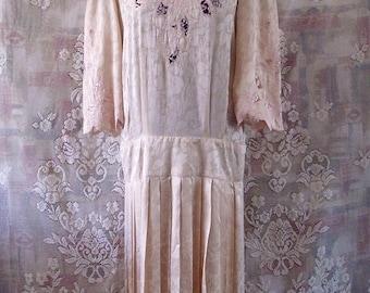 Vintage 90s Pastel Pink Embroidered Satin Dress