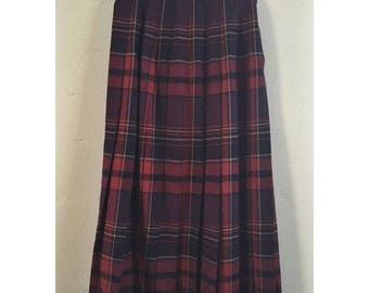 90's High Waisted Pleated Plaid Maxi Skirt