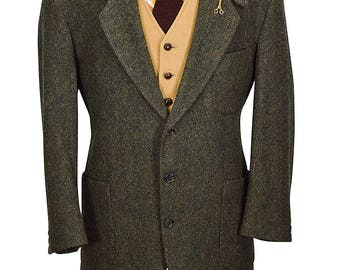 LL Bean 3M Thinsulated 42R Ultra Thick Preppy Herringbone Olive and Brown Tweed Sportcoat