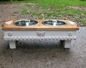Raised Small Dog Pet Feeder, Two Tone, Walnut Stained Top, Antique White Shabby Chic Two Paw Print Stainless One Quart Bowls Made To Order
