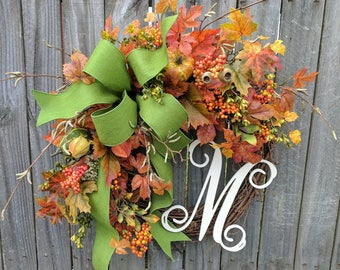 Wreath, Fall Wreath in Green, Fall Wreath with Letter, Pumpkin Wreath, Fall Harvest Wreath ,Fall Leaves Wreath with Monogram, Fall Gathering