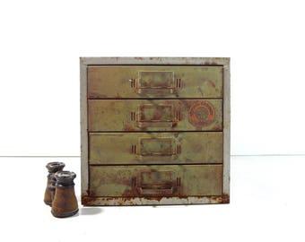 Vintage Industrial Metal Cabinet / 1940s Parts Cabinet / Industrial Storage