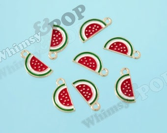 Little Gold Tone Watermelon Slice Enamel Kawaii Foodie Charm, Watermelon Charm, Melon Charm, Fruit Charm, 17mm x 6mm (R10-002)