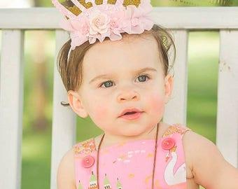Princess Crown, Birthday Crown, Personalized Crown, Pink and Gold, Princess Tiara, Roses Crown, Sparkly Crown, Baby Crown, Smash Cake Crown