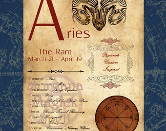 ARIES  ZODIAC, Digital Download, Astrology, Print, Constellation, Horoscope,   Book of Shadows Page, Wicca, BOS, Grimoire,