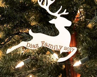 Christmas 2017 Personalized Engraved Wood Reindeer Christmas Ornament - Wood Deer Ornament