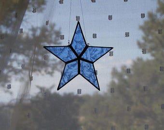 Blue Stained Glass Star Suncatcher, Freedom Star, Sky Blue Star,  Art & Collectibles, Glass Art, Handmade Decorative Ocean Blue Star Gift