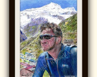 Everest -  himalayas Mountain Landscape Giclee Print of original colour Pencil Drawing by English Artist Stephen Russell of RussellArt