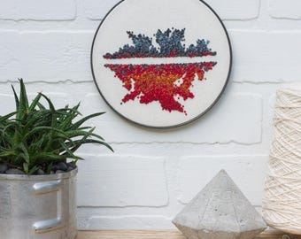 Modern Embroidery Hoop Art | Hand Embroidered Iceberg | Abstract Fiber Art with French Knots in Vintage Metal Hoop