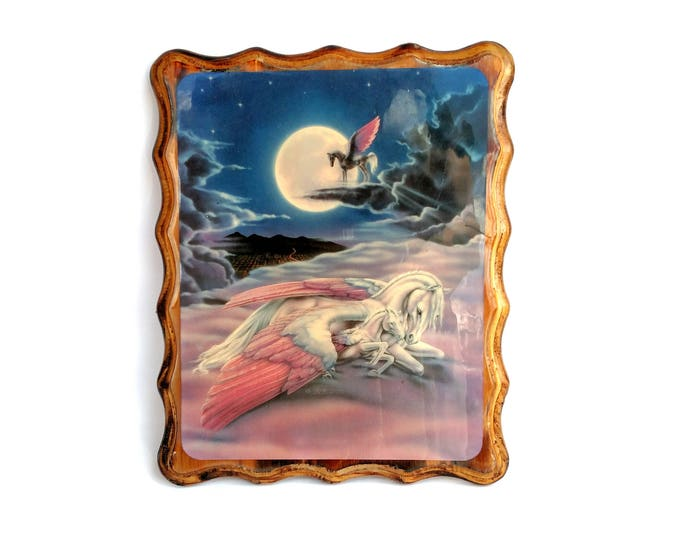 Vintage 1980's Magical Pegasus Family in The Clouds Mounted Illustration Mounted on Wood by Sue Dawe