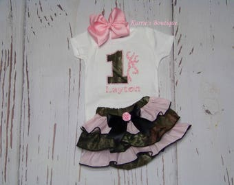 1st Birthday Camo Outfit / Mossy Oak + Pink / Bling Deer / Rhinestones / Cake Smash / Photo Prop / Baby / Girl / Toddler / Boutique Clothing