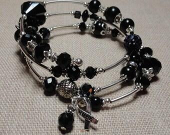 127 Melanoma Cancer Awareness  Wrap Bracelet