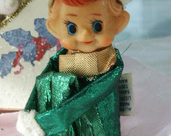 Vintage 1950's Green Metallic Pixie Elf Knee Hugger Christmas Ornament Pointy Ear Elf Pixie Shelf Sitter with Fur Trim Made in Japan w/tag