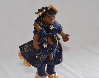 """Dollhouse Doll - 1/12 Scale Miniature Black/African American Girl - with Doll - Handmade OOAK Polymer Clay - Posable - """"Tanisha Denise"""""""
