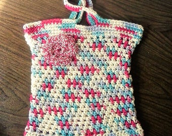 Summer Outdoors Market Bag - Beach Tote Bag - Red, White, Blue Multi with Flower - Eco Friendly 100% Cotton Crochet