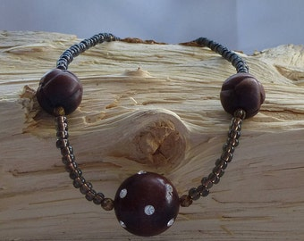 Wood & Crystal Necklace