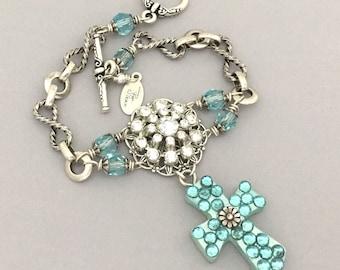 Christian Jewelry Bracelet - Rhinestone Cross Bracelet - Upcycled Rhinestone Bracelet - Christian Bracelet - Religious Cross Blue Bracelet