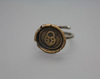 Adjustable Ring, Bronze Ring, Wax Seal Ring, Letter Seal Jewelry, Vintage Ring, Bronze Wax Seal, Heart Ring, Heart Padlock Jewelry