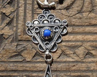 Moroccan blue fibula pendant brooch with dangle
