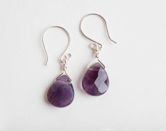 Purple Quartz Earrings, Purple, Quartz Earrings, Purple Earrings, Purple Silver Earrings, Purple Quartz, Quartz Jewelry, Gift for Mom