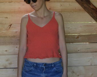 Orange Knitted top ribbed tank top Cotton Tank top VTG 90's strappy top