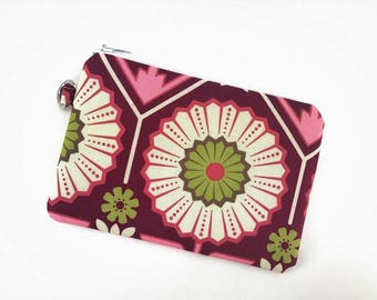 Flower Pouch, Coin Purse, Keychain Wallet, Zipper Pouch, Accessory Bag, Notions Bag, Padded Pouch, Gift ideas