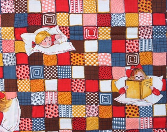 1960's Sleepytime Children's Quilt Patchwork Fabric Bed time stories tea sweet French Design Abstract