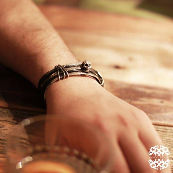 Punk Skull Bracelet, Mens Bangle, Gift for Boyfriend, Gift for Husband, Hipster, Punk Jewelry, Goth, Gothic, Leather Men, Tribal, Fashion