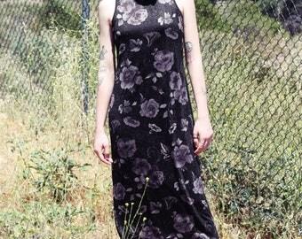 90s Goth Dark Glitter Floral Sleeveless Dress sz. S