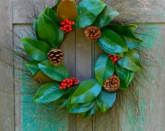 Magnolia Wreath - Christmas Wreath - Red Berry Magnolia Wreath