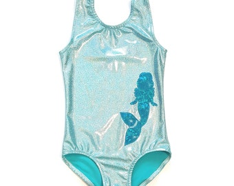 Mermaid Leotard - Gymnastics Leotard - Dance Leotard - Ballet Leotard - Tumbling Leotard - Girls Sparkle Leotard - Shiny Leotard