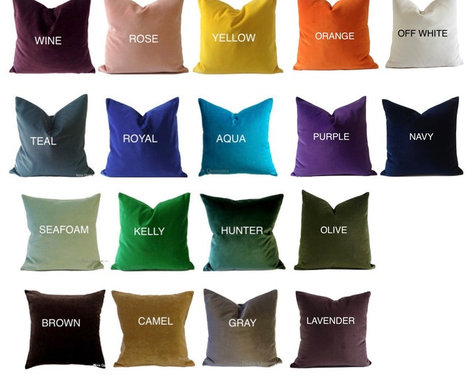 Decorative Velvet Pillow Cover- Available in 18 COLOR- Medium Weight Cotton Velvet- Invisible Zipper Closure- Knife Or Piping Edge
