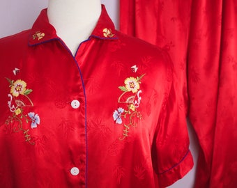 Vintage Red Brocade Embroidered Rayon Chinese Pajama Set XL