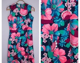 Vintage 1960's/70's Teal + Pink Floral Sleeveless Mini Dress M