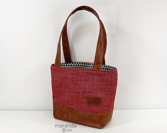 Lulu Medium Tote  Bag Red Denim with Montana Patch and PU Leather READY to SHIP - Purse 3 pockets Handbag Washable