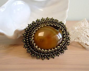 Brown Agate Brooch, Bead embroidered Brooch, Beadwork Brooch , Mothers day gift