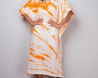 Boho dress, Kaftan, Tie Dye Summer Dress, Tunic dress, Orange and White Kaftan Dress, Festival outfit, Orange dress : Shibori Collection