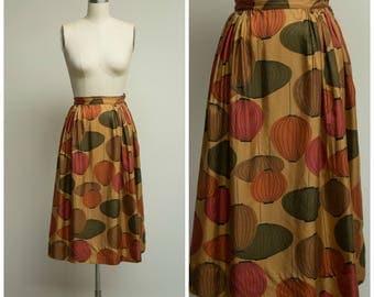 Vintage 50s Skirt • Autumn Lights • Brown Green Novelty Lantern Printed Silk 1950s Skirt Size XSmall