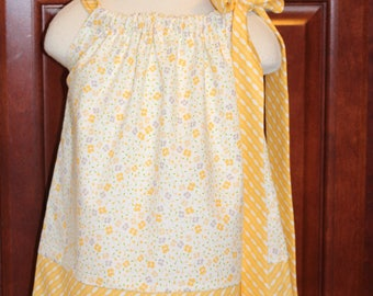 yellow floral pillowcase dress size 12 month ready to ship..size 4 swing top
