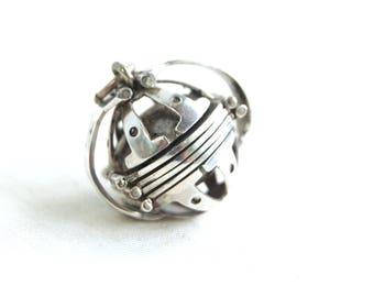 Ornate Ball Locket Mexican Sterling Silver 6 Photo Pendant Vintage Steampunk Folding Locket