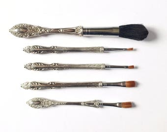 Vintage makeup brushes, set of cosmetic brushes, Victorian style, vanity brushes