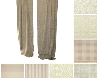 Neutral Curtains- Pair of Drapery Panels- Beige Drapes- Tan Window Shade- Custom Curtains- Damask Curtains- Living Room Curtains- Cafe