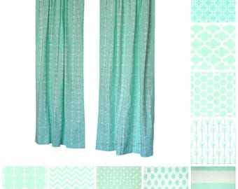 Window Curtains- Pair of Drapery Panels- Mint Curtains- Green Drapes- Nautical Decor- Choose your Size- Custom Curtains- Nursery Curtains