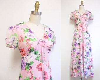 Vintage 1970s Maxi Dress   Peony Print Empire Waist 1970s Boho Dress   size small