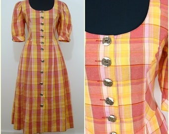 Bohemian VINTAGE Bavarian Orange Yellow Check Country Folk Dress  Uk 14 Fr 42 Oktoberfest / Tyrol / Austrian / German/ Celtic