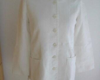 Kenzo Jungle White Linen Mandarin Collar Jacket Sz. 38